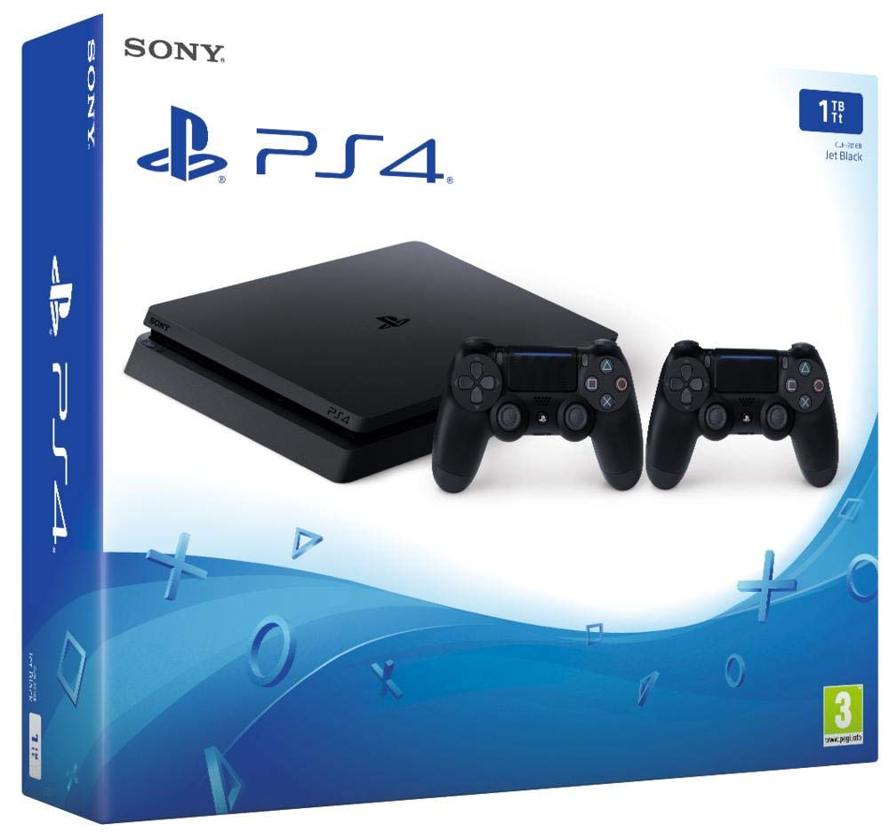 Playstation 4 (PS4) - Consola 500 Gb + 2 Mandos Dual Shock 4 (Edición Exclusiva Amazon) - nuevo chasis F (2019)