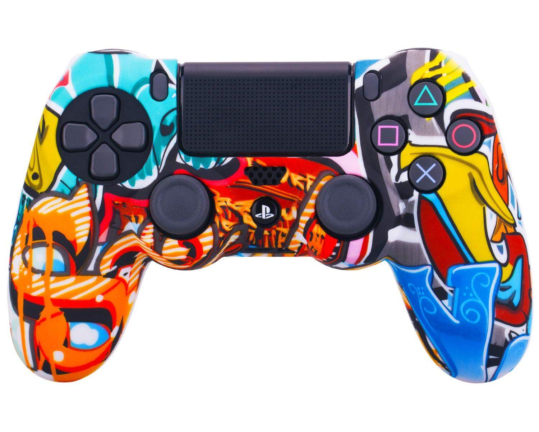 SKin para mando YoRHa Sony PS4/slim/Pro Dualshock 4 Mando x 1 (Graffiti comico) Con los Puños Pulgar Thumb Gripsx 8