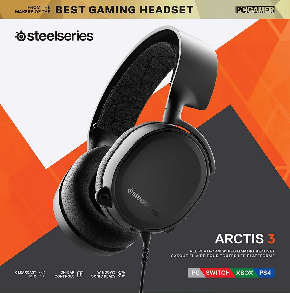 SteelSeries Arctis3  Auriculares multiplataforma. PC, Playstation 4, Xbox One, Nintendo Switch, RV, Android y iOS - Negro [Edición 2019]